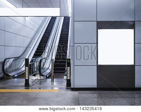 Billboard Banner signage mock up display with escalator in subway
