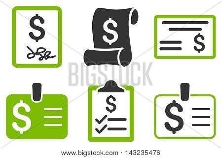Payment Cheque vector icons. Pictogram style is bicolor eco green and gray flat icons with rounded angles on a white background.