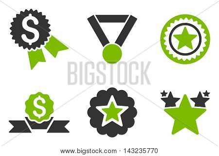 Reward vector icons. Pictogram style is bicolor eco green and gray flat icons with rounded angles on a white background.