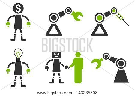 Robot vector icons. Pictogram style is bicolor eco green and gray flat icons with rounded angles on a white background.