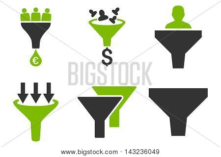 Sales Funnel vector icons. Pictogram style is bicolor eco green and gray flat icons with rounded angles on a white background.