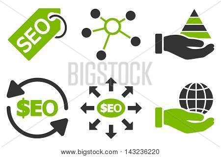 Seo Marketing vector icons. Pictogram style is bicolor eco green and gray flat icons with rounded angles on a white background.