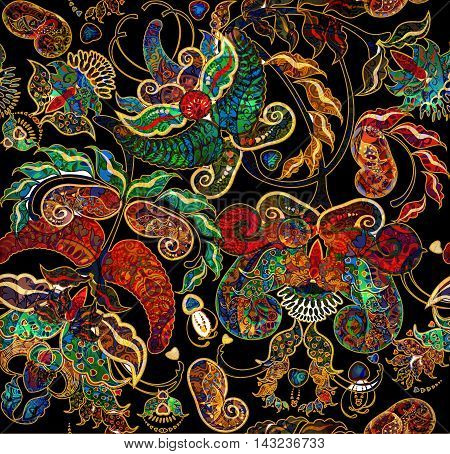 background floral shabby exotic oriental pattern motley