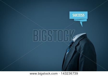 Your success is in your brain - motivation, coach and leader concept. Businessman with label representing brain and text success.