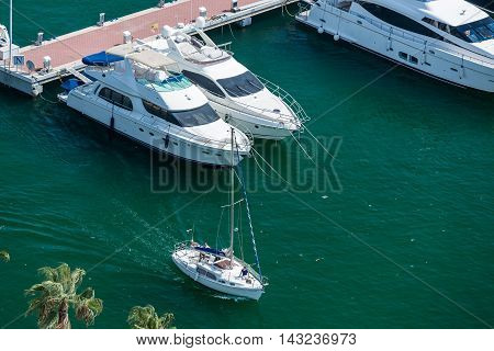 Alicante, Spain - SEPTEMBER 2015: Yachts and boats in Alicante Marina