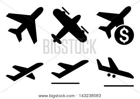 Aviation vector icons. Pictogram style is black flat icons with rounded angles on a white background.