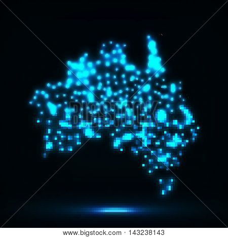 Abstract map of Australia with glowing particles