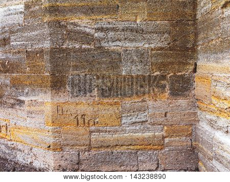Brick Wall, Weathered, Worn Wall Damaged Paint. Grunge Concrete Surface. Great Background Or Texture