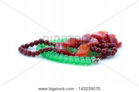 Bead-necklaces On White Background