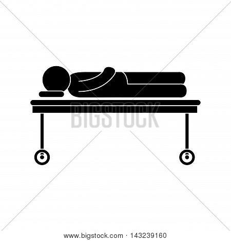 man stretcher injury sick patient hospital emergency vector illustration