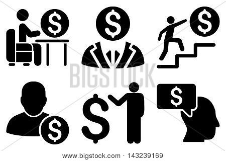 Businessman vector icons. Pictogram style is black flat icons with rounded angles on a white background.