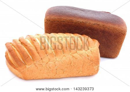 Baton Of Wheat And Rye Bread On White Background