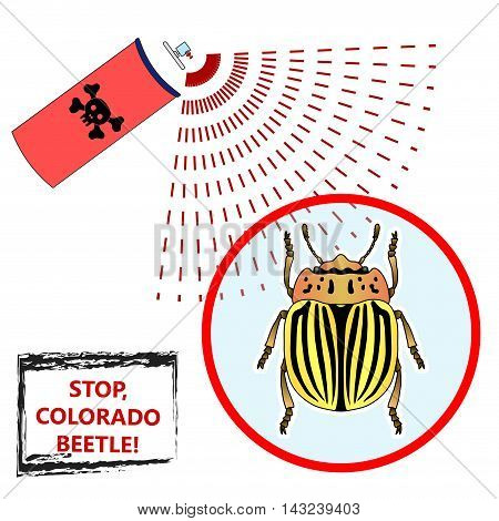 Spray against insects insecticides. anti pesticides, colorado beetle, face of dead insect in poison toxic cloud isolated on white backgrond, vector illustration