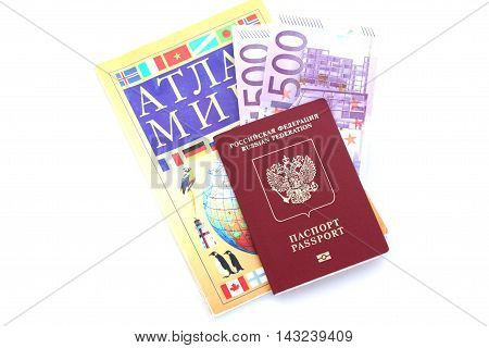 Passport, A World Atlas And Money On White Background