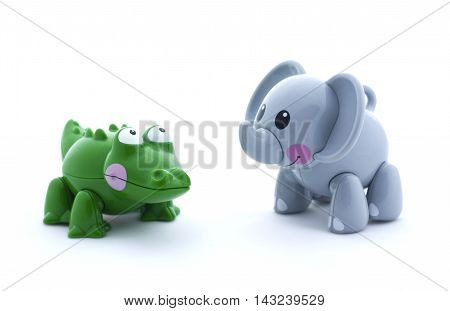 Toy Crocodile And Elephant On A White Background