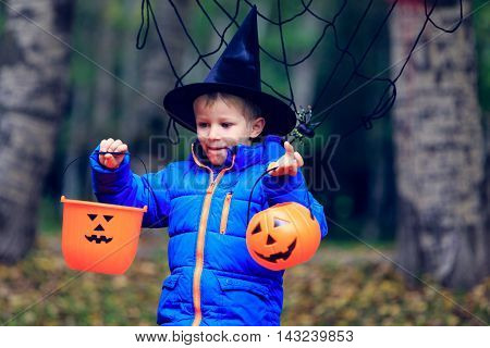 little boy in halloween costume in autumn, kids trick or treating