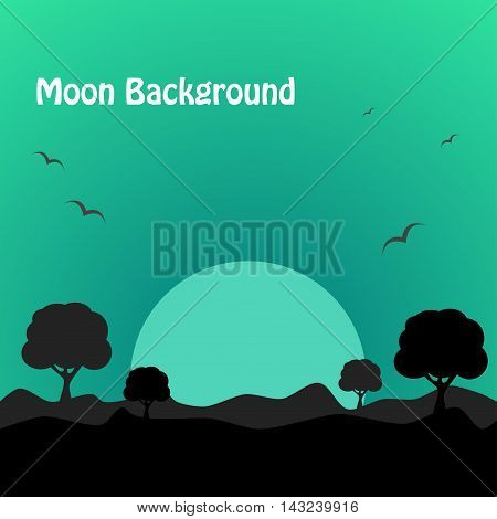 Moon light background. nature background. vector illustration
