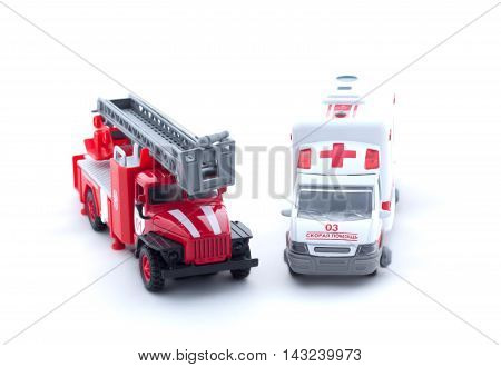Toy Fire Truck And Ambulance On White Background, Isolated