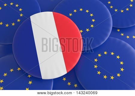 France And The European Union: French Tricolor Flag And EU Flag Badges 3d illustration