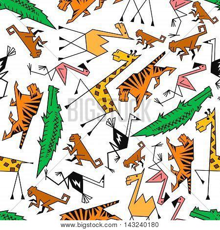 African and jungle cartoon safari animals. Seamless wallpaper with pattern of cute tiger, giraffe, monkey, camel, flamingo, ostrich, crocodile, alligator