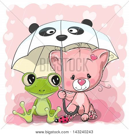 Cute Cartoon Frog and Kitten with umbrella