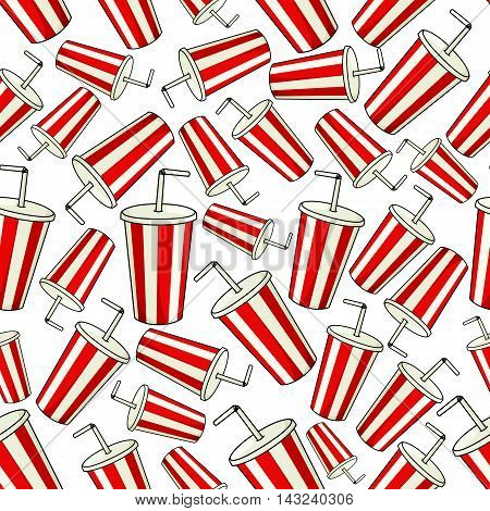 Coke paper cup seamless background. Classic red striped cup with drinking straw and lid. Fast food drink vector wallpaper decoration for restaurant, eatery menu