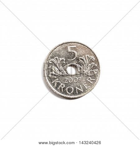 Norwegian 5 kroner crown currency isolated on white background