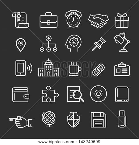 Business element line icons set. Vector illustration