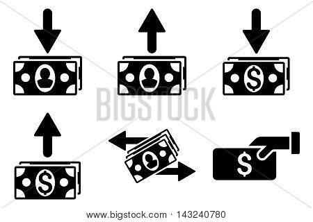 Pay Banknotes vector icons. Pictogram style is black flat icons with rounded angles on a white background.