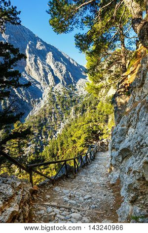 Early morning in Samaria Gorge in central Crete Greece