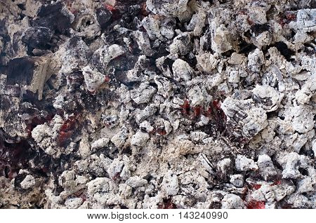background texture of embers after the fire