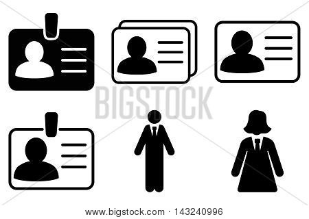 Person Account Card vector icons. Pictogram style is black flat icons with rounded angles on a white background.