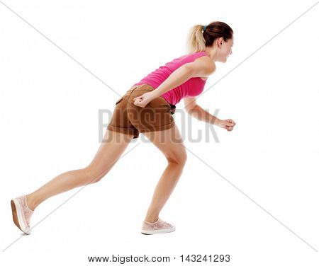 side view woman start position.  Rear view people collection.  backside view of person.  Isolated over white background. Sport blond in brown shorts will start the race