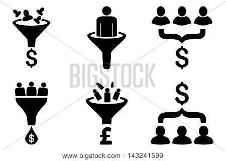 Sales Funnel vector icons. Pictogram style is black flat icons with rounded angles on a white background.