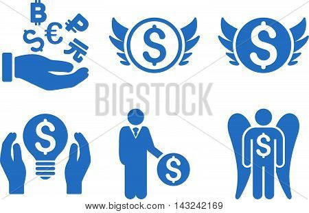 Angel Investor vector icons. Pictogram style is cobalt flat icons with rounded angles on a white background.