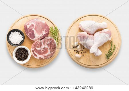 Design Of Mockup Raw Chicken And Pork On Cutting Board Set Set Isolated On White Background. Clippin