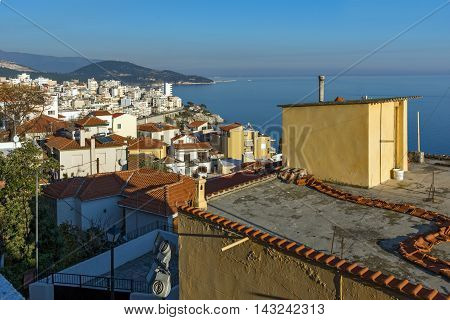 Panoramic view to old town of Kavala, East Macedonia and Thrace, Greece