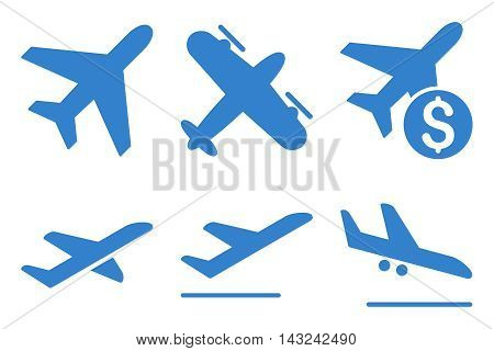 Aviation vector icons. Pictogram style is cobalt flat icons with rounded angles on a white background.