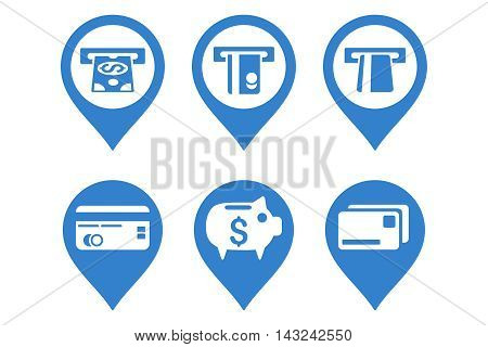 Bank ATM Pointer vector icons. Pictogram style is cobalt flat icons with rounded angles on a white background.