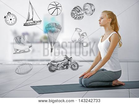 Beautiful young woman doing yoga exercise on mat at home. Sport lifestyle concept. Diversity of sport icons on background.