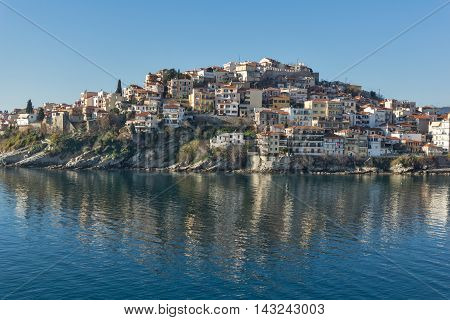Panorama of Old town of Kavala, East Macedonia and Thrace, Greece