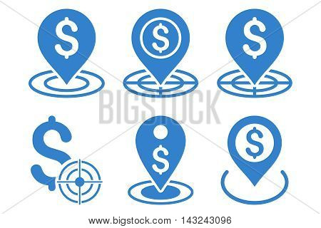 Business Goal vector icons. Pictogram style is cobalt flat icons with rounded angles on a white background.