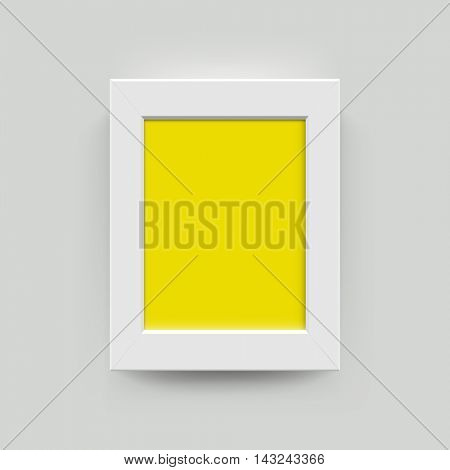 White with yellow blank photo frame wall gallery set. Modern vector picture frame mockup template on wall background