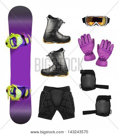 Set of snowboard equipment and protection accessories isolated on white background