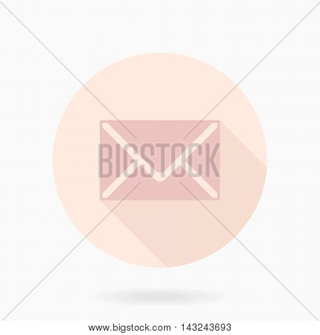 Fine vector pink mail icon in the circle. Flat design and long shadow