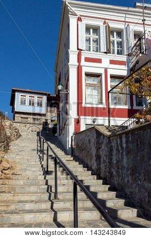 Street and Typical house from ottoman period in Xanthi, East Macedonia and Thrace, Greece