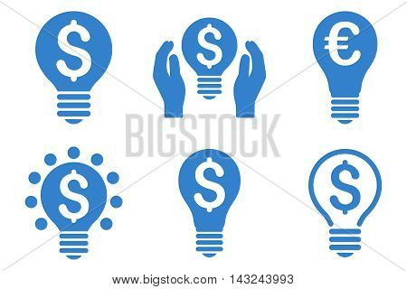 Electric Light Price vector icons. Pictogram style is cobalt flat icons with rounded angles on a white background.