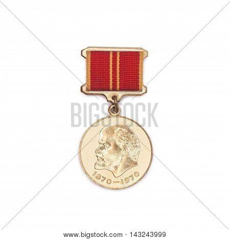 CHISINAU MOLDOVA - AUGUST 17 2016: Soviet medal for the valiant work 100 anniversary of Lenin's birth isolated on white background.