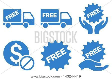 Free of Charge vector icons. Pictogram style is cobalt flat icons with rounded angles on a white background.