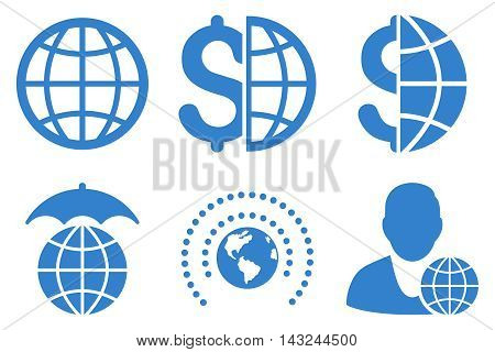 Global Business vector icons. Pictogram style is cobalt flat icons with rounded angles on a white background.
